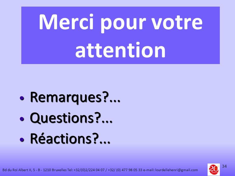 Merci pour votre attention Remarques?... Remarques?... Questions?... Questions?... Réactions?... Réactions?... 34 Bd du Roi Albert II, 5 - B - 1210 Br