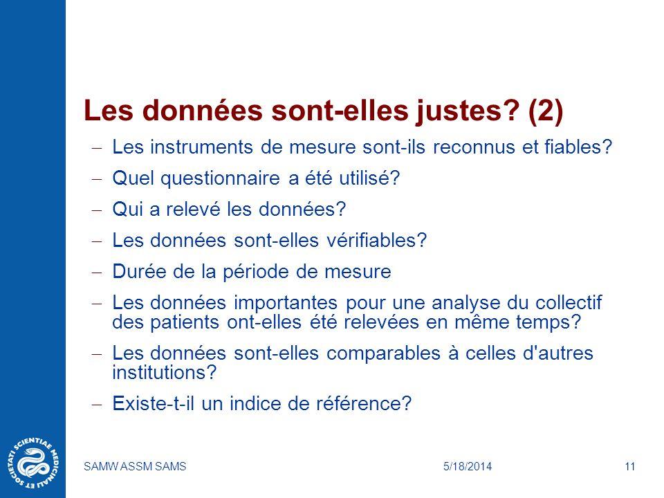 5/18/2014SAMW ASSM SAMS11 Les données sont-elles justes? (2) Les instruments de mesure sont-ils reconnus et fiables? Quel questionnaire a été utilisé?