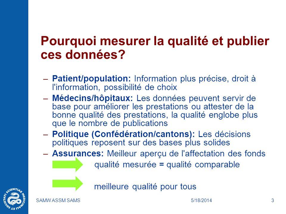 5/18/2014SAMW ASSM SAMS3 Pourquoi mesurer la qualité et publier ces données? –Patient/population: Information plus précise, droit à l'information, pos