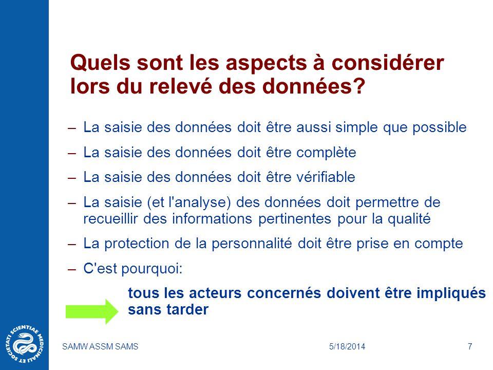 5/18/2014SAMW ASSM SAMS7 Quels sont les aspects à considérer lors du relevé des données? –La saisie des données doit être aussi simple que possible –L