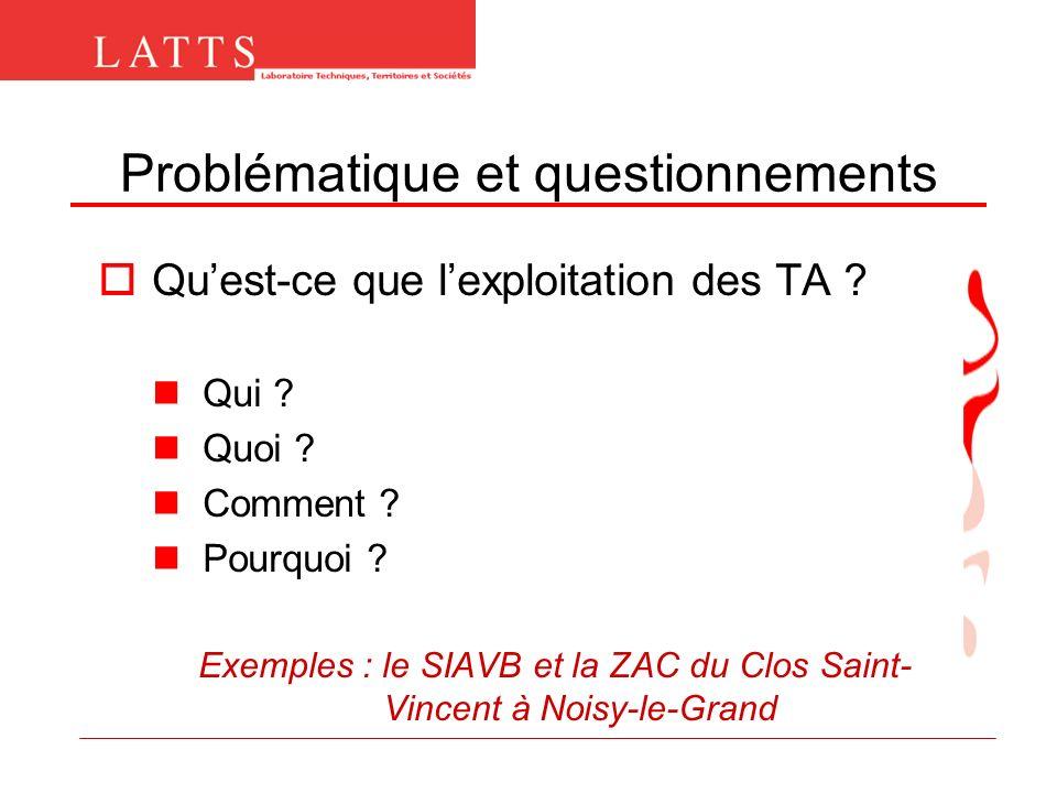 Problématique et questionnements Quest-ce que lexploitation des TA ? Qui ? Quoi ? Comment ? Pourquoi ? Exemples : le SIAVB et la ZAC du Clos Saint- Vi