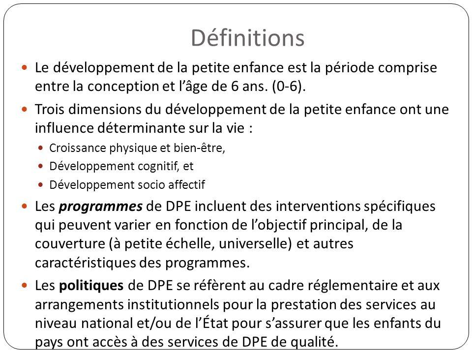 Définitions Le développement de la petite enfance est la période comprise entre la conception et lâge de 6 ans. (0-6). Trois dimensions du développeme