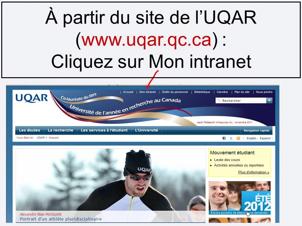 À partir du site de lUQAR (www.uqar.qc.ca) : Cliquez sur Mon intranet