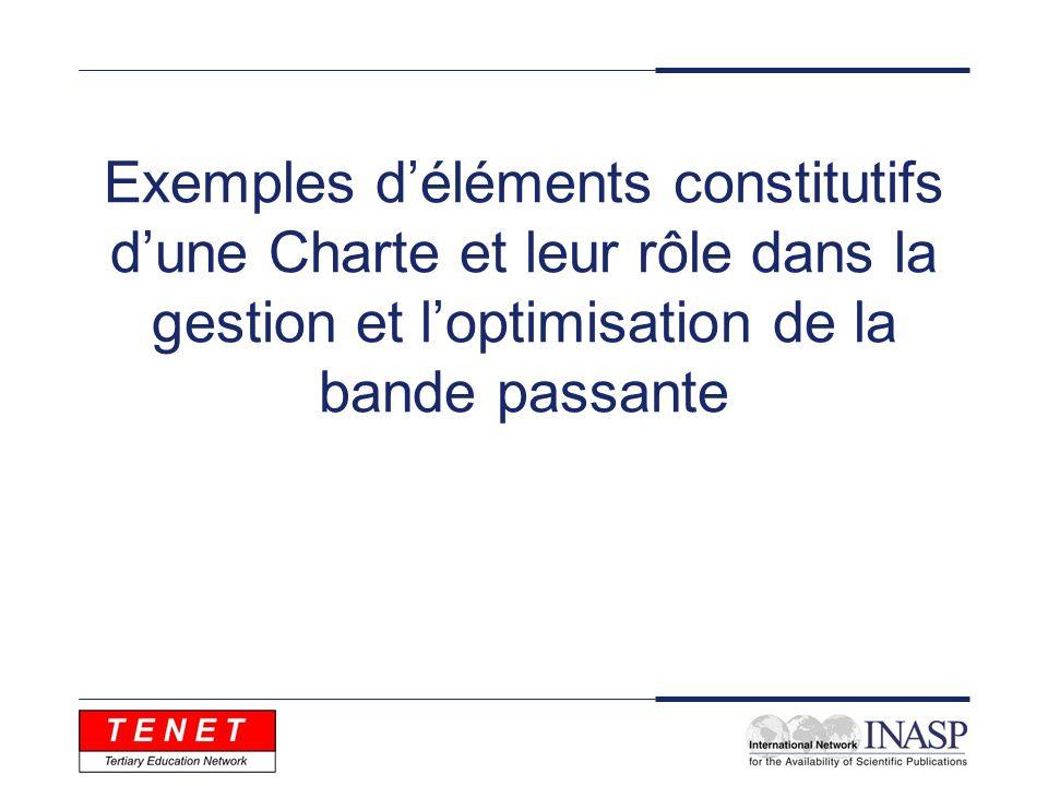 Exemples déléments constitutifs dune Charte et leur rôle dans la gestion et loptimisation de la bande passante