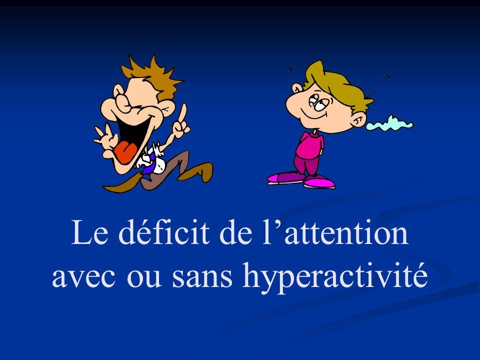 Le déficit de lattention avec ou sans hyperactivité