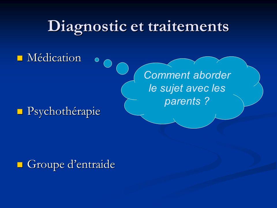 Diagnostic et traitements Médication Médication Psychothérapie Psychothérapie Groupe dentraide Groupe dentraide Comment aborder le sujet avec les parents ?