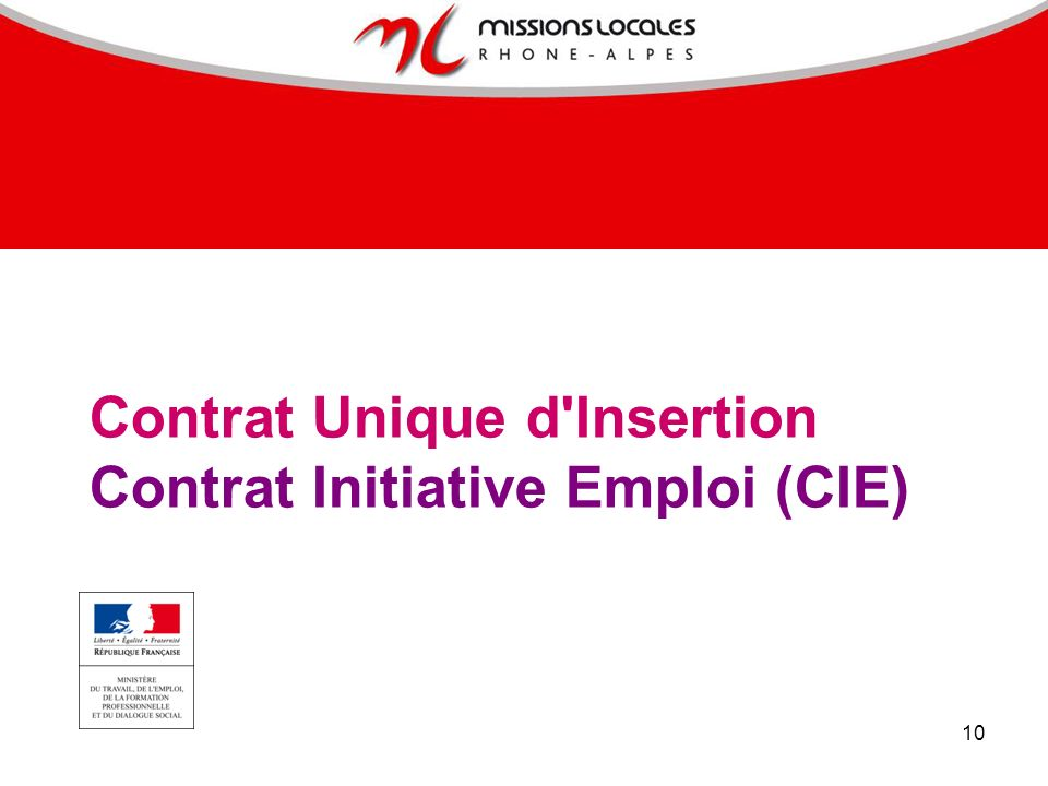 10 Contrat Unique d'Insertion Contrat Initiative Emploi (CIE)