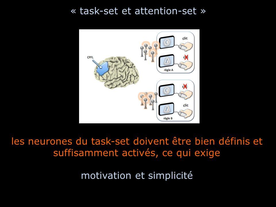 « task-set et attention-set » les neurones du task-set doivent être bien définis et suffisamment activés, ce qui exige motivation et simplicité