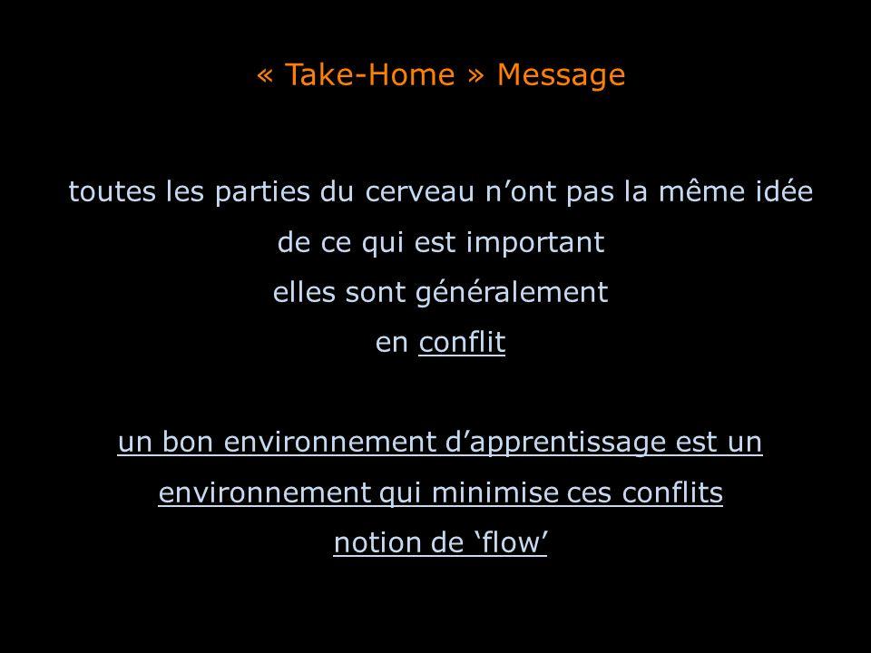 « Take-Home » Message toutes les parties du cerveau nont pas la même idée de ce qui est important elles sont généralement en conflit un bon environnem