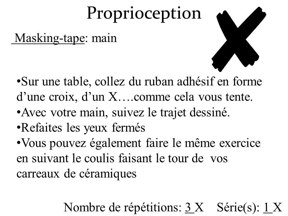 Proprioception Nombre de répétitions: 3 X Série(s): 1 X Sur une table, collez du ruban adhésif en forme dune croix, dun X….comme cela vous tente. Avec