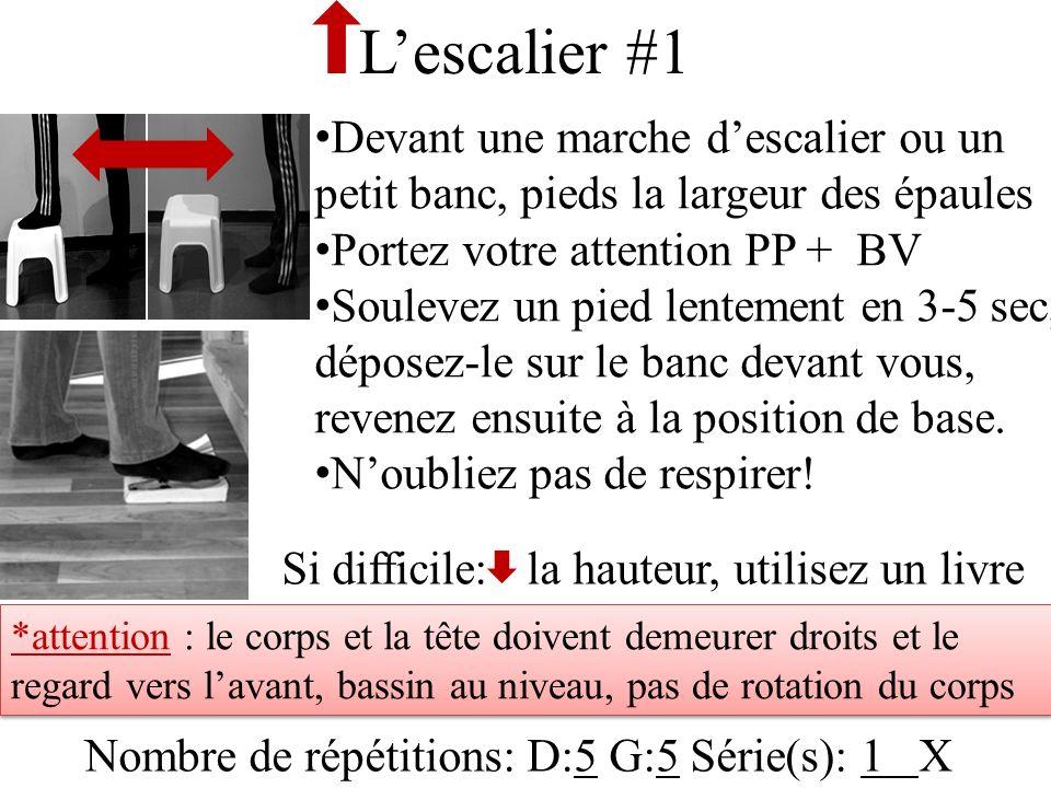 Lescalier #1 Devant une marche descalier ou un petit banc, pieds la largeur des épaules Portez votre attention PP + BV Soulevez un pied lentement en 3