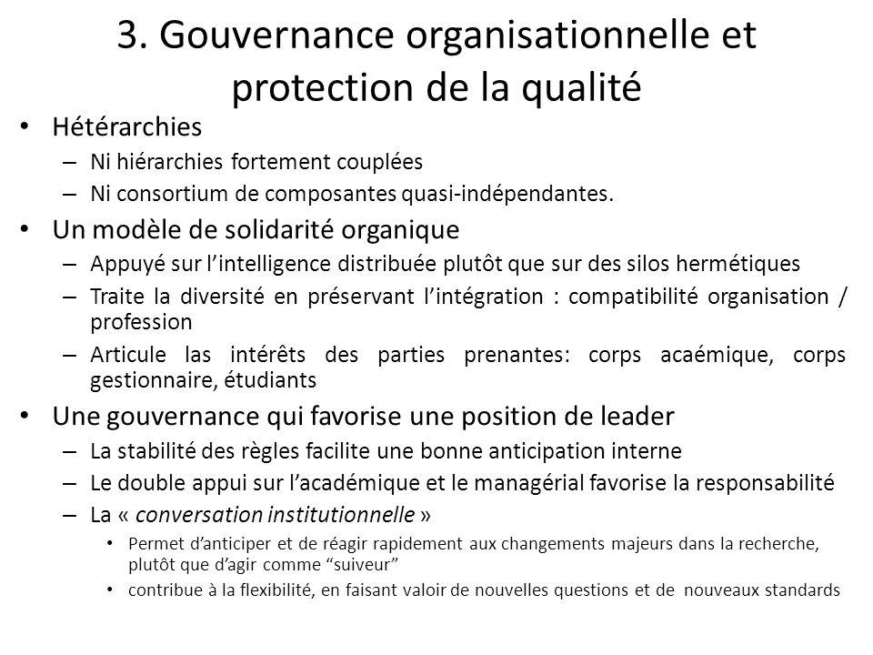 3. Gouvernance organisationnelle et protection de la qualité Hétérarchies – Ni hiérarchies fortement couplées – Ni consortium de composantes quasi-ind