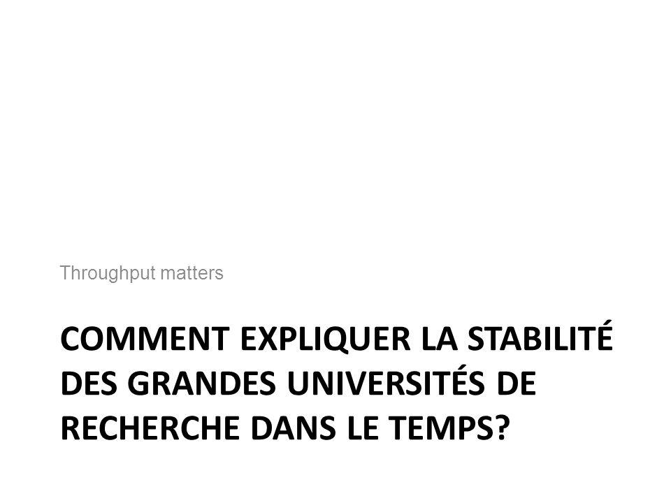 COMMENT EXPLIQUER LA STABILITÉ DES GRANDES UNIVERSITÉS DE RECHERCHE DANS LE TEMPS.