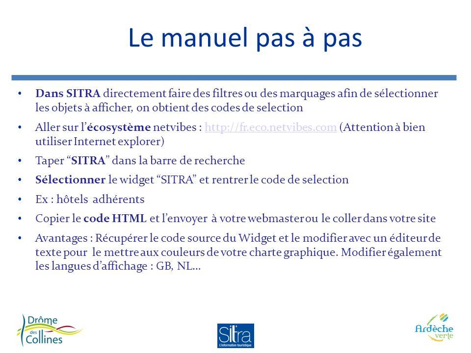 Le manuel pas à pas Dans SITRA directement faire des filtres ou des marquages afin de sélectionner les objets à afficher, on obtient des codes de selection Aller sur lécosystème netvibes : http://fr.eco.netvibes.com (Attention à bien utiliser Internet explorer)http://fr.eco.netvibes.com Taper SITRA dans la barre de recherche Sélectionner le widget SITRA et rentrer le code de selection Ex : hôtels adhérents Copier le code HTML et lenvoyer à votre webmaster ou le coller dans votre site Avantages : Récupérer le code source du Widget et le modifier avec un éditeur de texte pour le mettre aux couleurs de votre charte graphique.