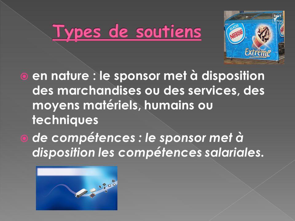 en nature : le sponsor met à disposition des marchandises ou des services, des moyens matériels, humains ou techniques de compétences : le sponsor met