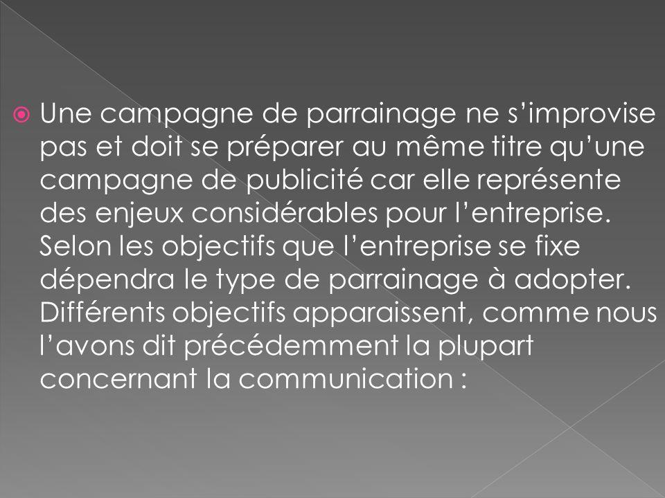 Une campagne de parrainage ne simprovise pas et doit se préparer au même titre quune campagne de publicité car elle représente des enjeux considérable