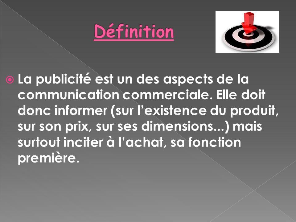 La publicité est un des aspects de la communication commerciale. Elle doit donc informer (sur lexistence du produit, sur son prix, sur ses dimensions.