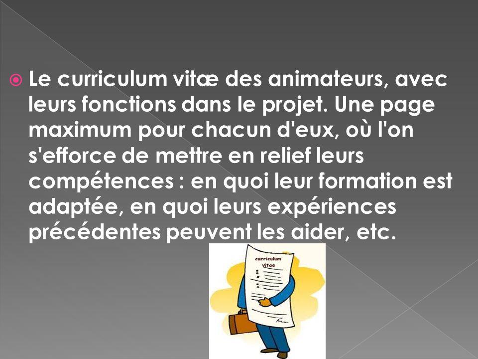 Le curriculum vitæ des animateurs, avec leurs fonctions dans le projet. Une page maximum pour chacun d'eux, où l'on s'efforce de mettre en relief leur