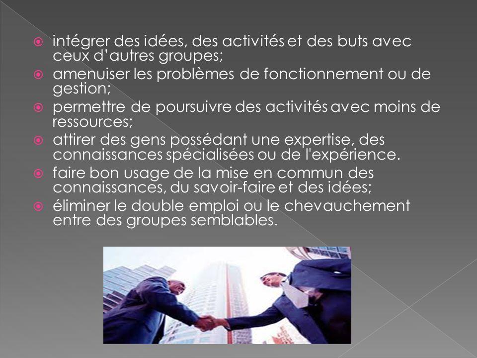 intégrer des idées, des activités et des buts avec ceux dautres groupes; amenuiser les problèmes de fonctionnement ou de gestion; permettre de poursui
