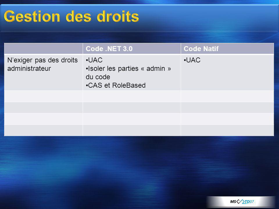 Code.NET 3.0Code Natif Nexiger pas des droits administrateur UAC Isoler les parties « admin » du code CAS et RoleBased UAC