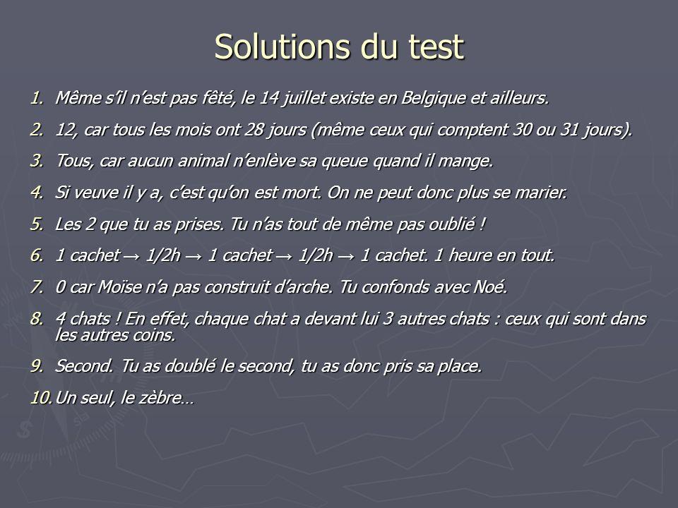 Solutions du test 1.Même sil nest pas fêté, le 14 juillet existe en Belgique et ailleurs. 2.12, car tous les mois ont 28 jours (même ceux qui comptent