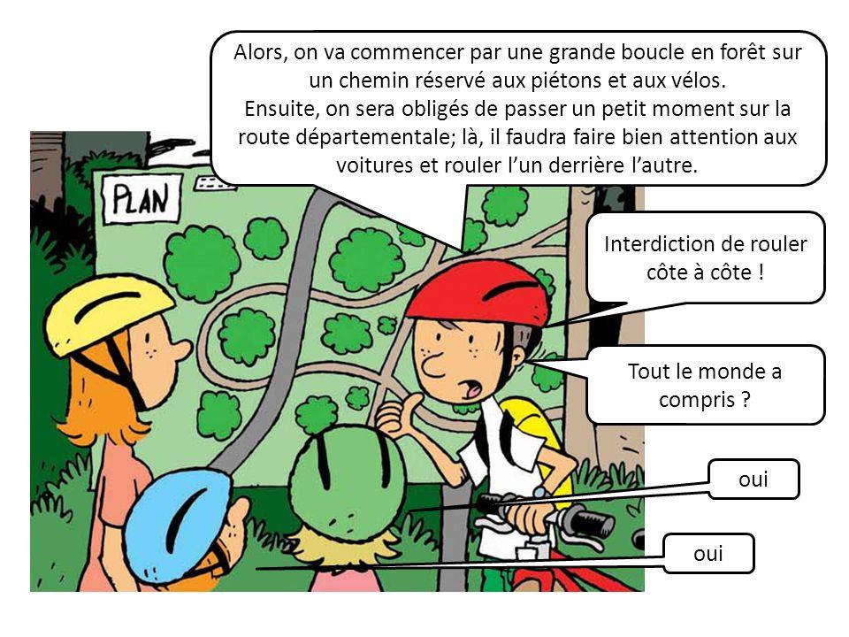 . Alors, on va commencer par une grande boucle en forêt sur un chemin réservé aux piétons et aux vélos. Ensuite, on sera obligés de passer un petit mo
