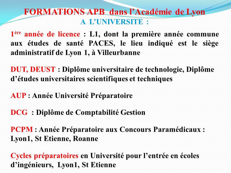 FORMATIONS APB dans lAcadémie de Lyon A LUNIVERSITE : 1 ère année de licence : L1, dont la première année commune aux études de santé PACES, le lieu i