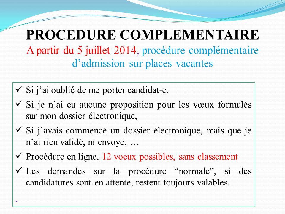 PROCEDURE COMPLEMENTAIRE A partir du 5 juillet 2014, procédure complémentaire dadmission sur places vacantes Si jai oublié de me porter candidat-e, Si