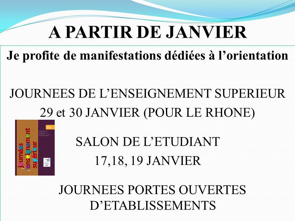 A PARTIR DE JANVIER Je profite de manifestations dédiées à lorientation JOURNEES DE LENSEIGNEMENT SUPERIEUR 29 et 30 JANVIER (POUR LE RHONE) SALON DE