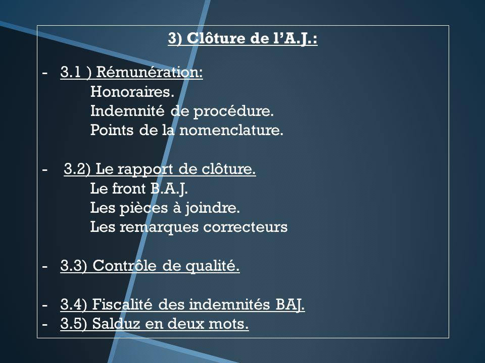 3) Clôture de lA.J.: -3.1 ) Rémunération: Honoraires. Indemnité de procédure. Points de la nomenclature. - 3.2) Le rapport de clôture. Le front B.A.J.