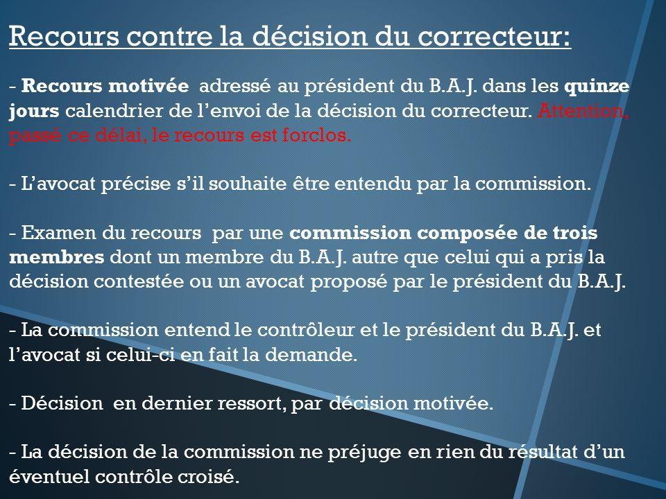 Recours contre la décision du correcteur: - Recours motivée adressé au président du B.A.J. dans les quinze jours calendrier de lenvoi de la décision d