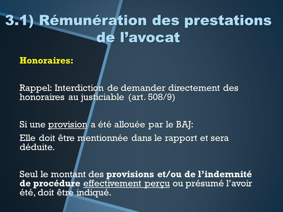 3.1) Rémunération des prestations de lavocat Honoraires: Rappel: Interdiction de demander directement des honoraires au justiciable (art. 508/9) Si un
