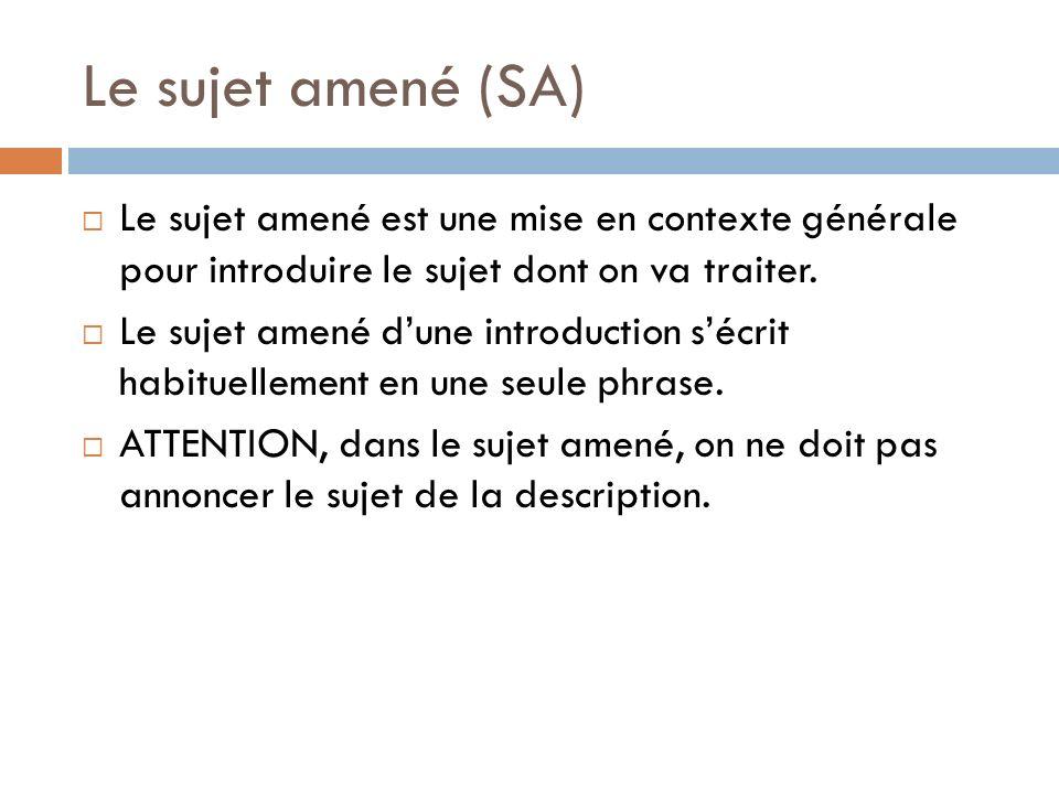 Le sujet amené (SA) Le sujet amené est une mise en contexte générale pour introduire le sujet dont on va traiter. Le sujet amené dune introduction séc