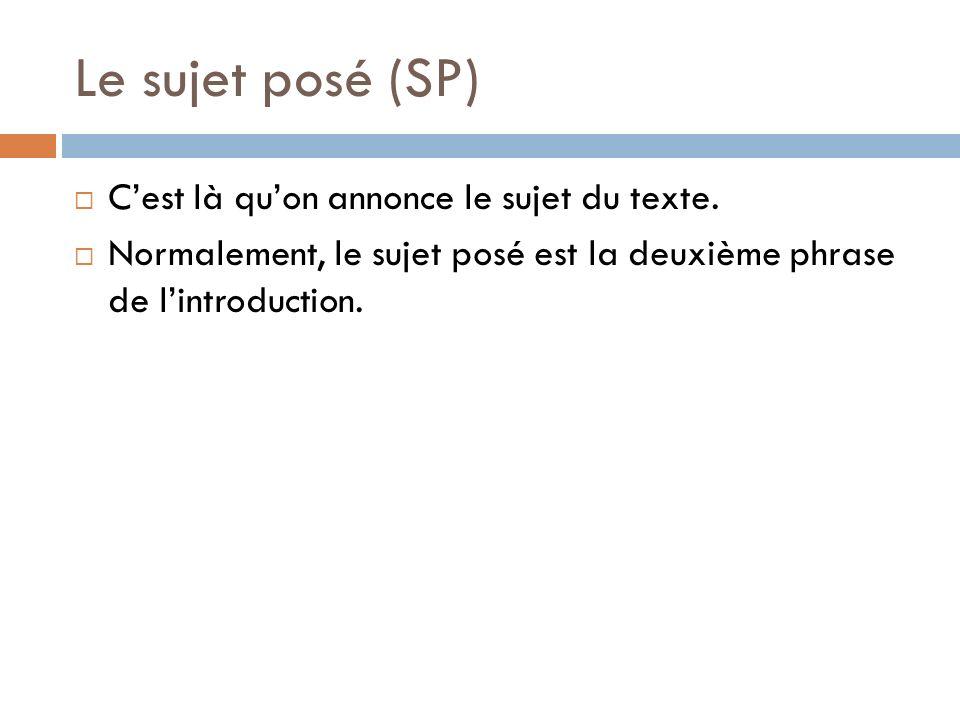 Le sujet posé (SP) Cest là quon annonce le sujet du texte. Normalement, le sujet posé est la deuxième phrase de lintroduction.