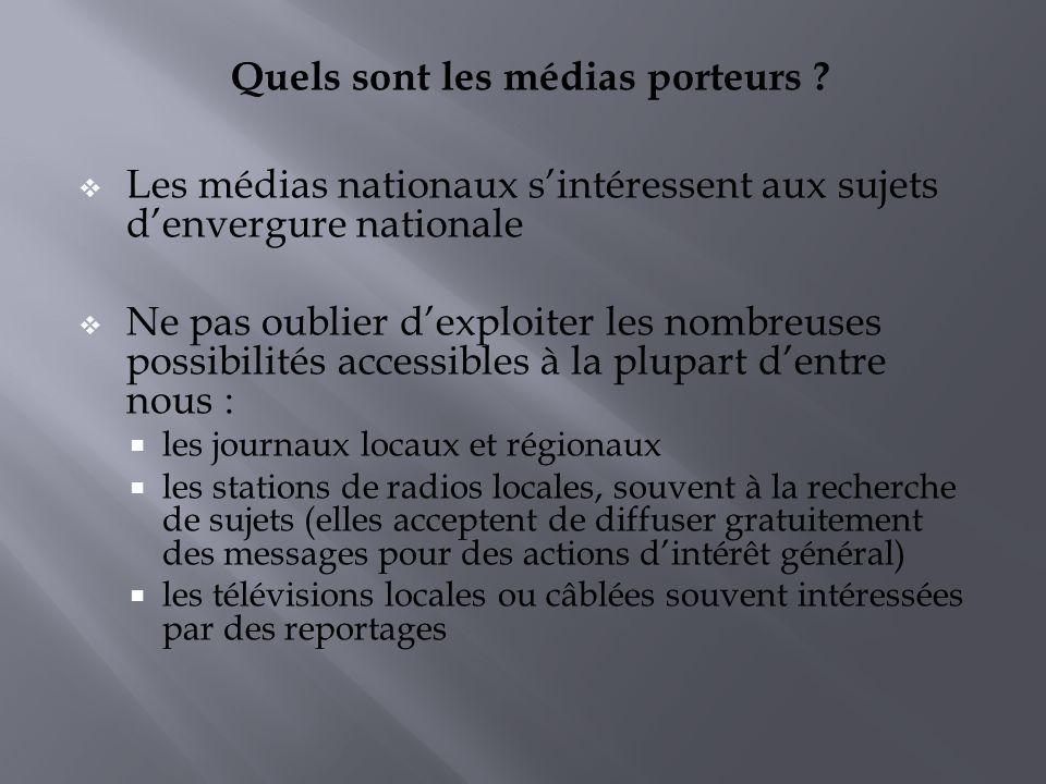 Quels sont les médias porteurs ? Les médias nationaux sintéressent aux sujets denvergure nationale Ne pas oublier dexploiter les nombreuses possibilit