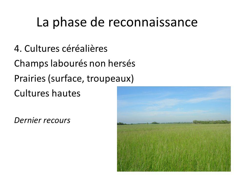 La phase de reconnaissance 4. Cultures céréalières Champs labourés non hersés Prairies (surface, troupeaux) Cultures hautes Dernier recours