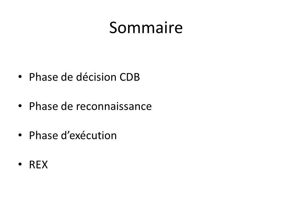 Sommaire Phase de décision CDB Phase de reconnaissance Phase dexécution REX