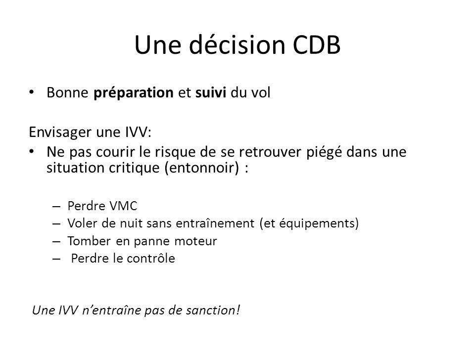 Une décision CDB Analyse objective de la situation Options Risques et avantages de chacune Décision prise tôt = se donner du temps pour construire son plan daction Information à la fréquence et aux passagers Prévoir ~ 15 entre la décision et latterrissage Attention.