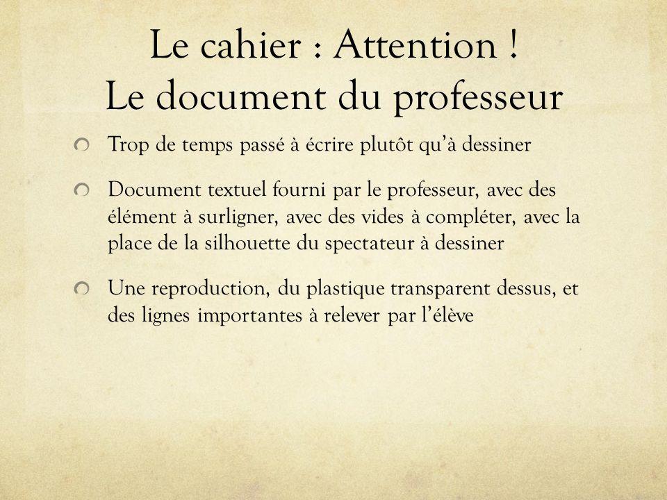 Le cahier : Attention ! Le document du professeur Trop de temps passé à écrire plutôt quà dessiner Document textuel fourni par le professeur, avec des
