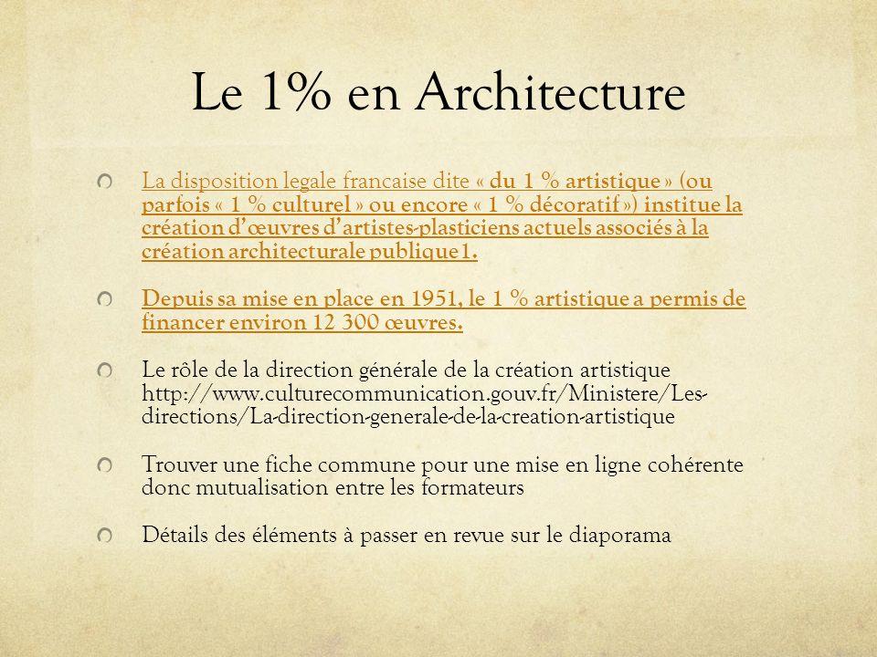 Le 1% en Architecture La disposition legale francaise dite « du 1 % artistique » (ou parfois « 1 % culturel » ou encore « 1 % décoratif ») institue la