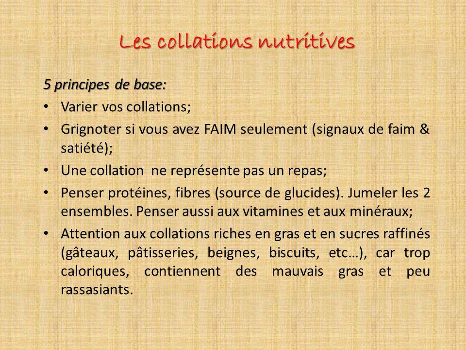 Les collations nutritives 5 principes de base: Varier vos collations; Grignoter si vous avez FAIM seulement (signaux de faim & satiété); Une collation ne représente pas un repas; Penser protéines, fibres (source de glucides).