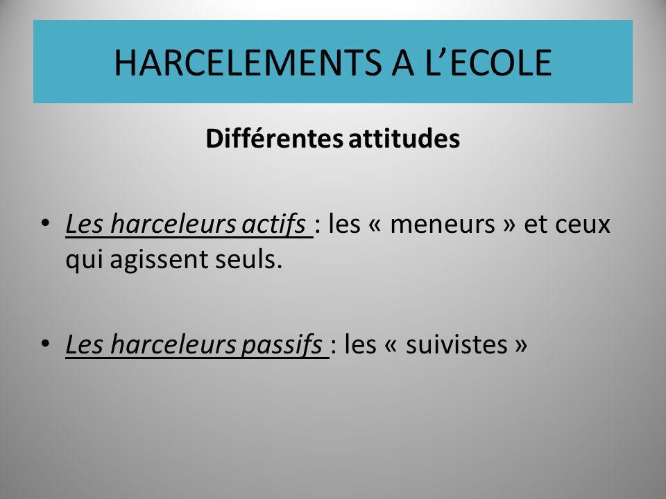 HARCELEMENTS A LECOLE Différentes attitudes Les harceleurs actifs : les « meneurs » et ceux qui agissent seuls.