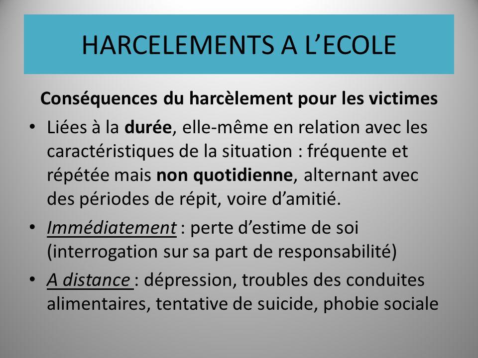 HARCELEMENTS A LECOLE Conséquences du harcèlement pour les victimes Liées à la durée, elle-même en relation avec les caractéristiques de la situation : fréquente et répétée mais non quotidienne, alternant avec des périodes de répit, voire damitié.