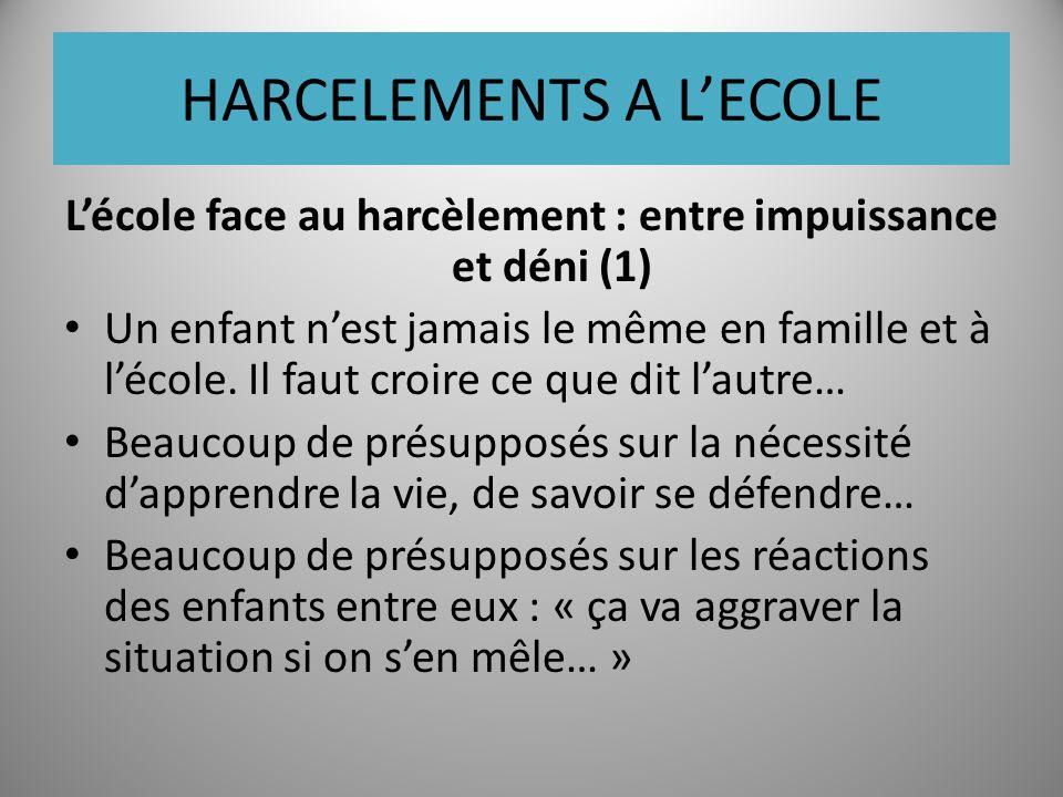 HARCELEMENTS A LECOLE Lécole face au harcèlement : entre impuissance et déni (1) Un enfant nest jamais le même en famille et à lécole.