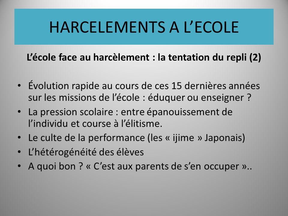 HARCELEMENTS A LECOLE Lécole face au harcèlement : la tentation du repli (2) Évolution rapide au cours de ces 15 dernières années sur les missions de lécole : éduquer ou enseigner .