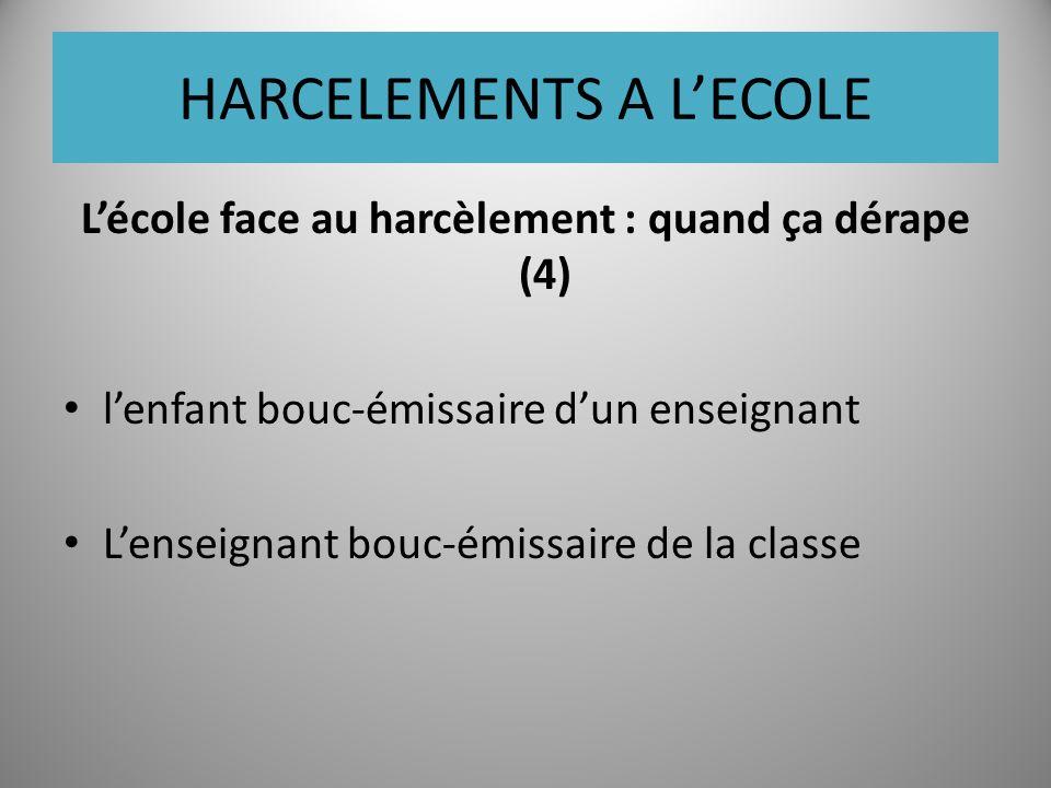 HARCELEMENTS A LECOLE Lécole face au harcèlement : quand ça dérape (4) lenfant bouc-émissaire dun enseignant Lenseignant bouc-émissaire de la classe