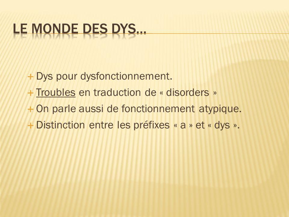 Dys pour dysfonctionnement.