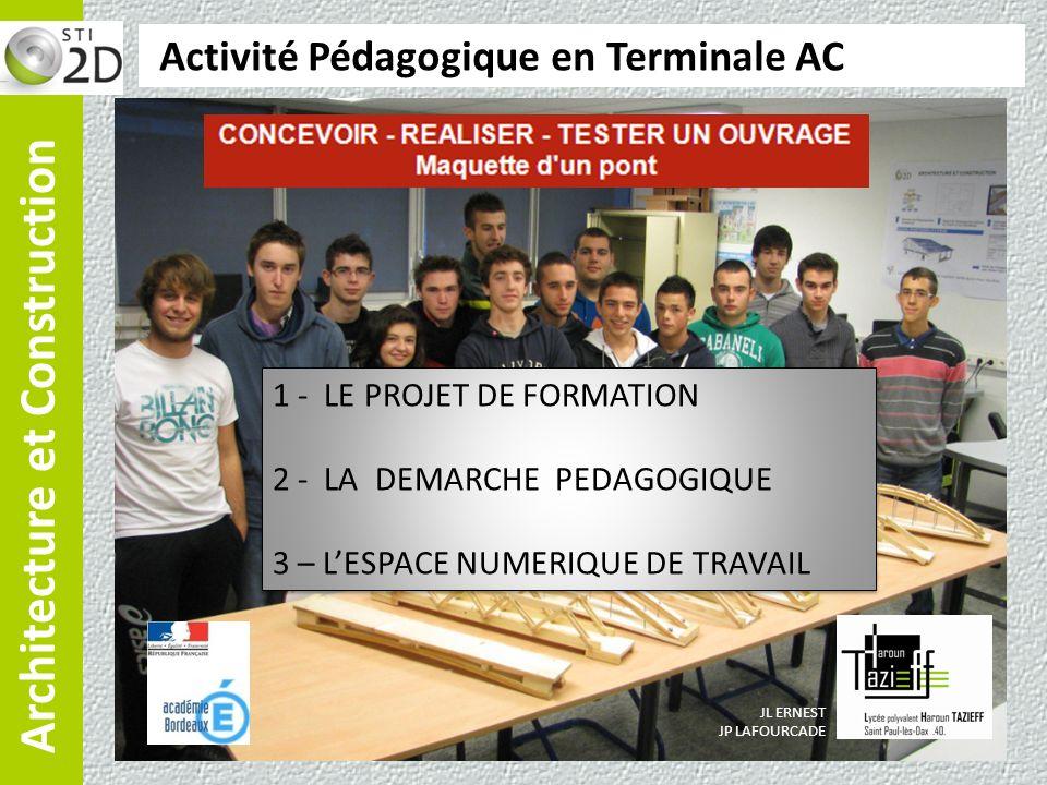 Architecture et Construction Activité Pédagogique en Terminale AC JL ERNEST JP LAFOURCADE 1 - LE PROJET DE FORMATION 2 - LA DEMARCHE PEDAGOGIQUE 3 – L