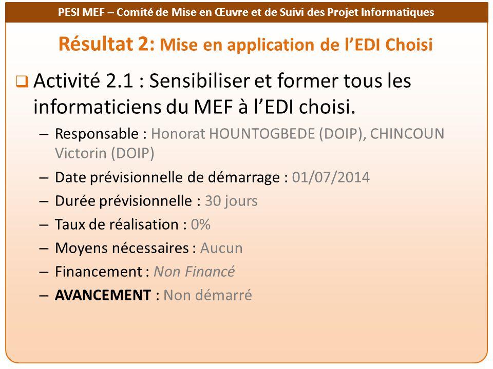 PESI MEF – Comité de Mise en Œuvre et de Suivi des Projet Informatiques Résultat 2: Mise en application de lEDI Choisi Activité 2.1 : Sensibiliser et former tous les informaticiens du MEF à lEDI choisi.