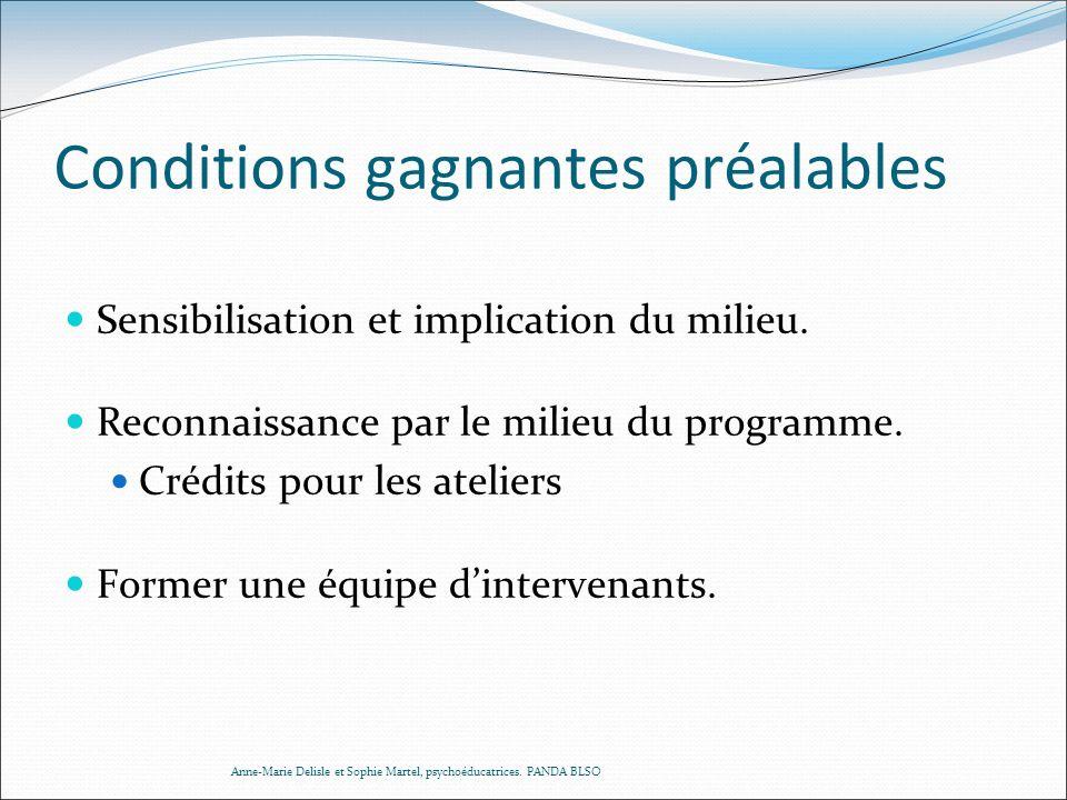 Conditions gagnantes préalables Sensibilisation et implication du milieu. Reconnaissance par le milieu du programme. Crédits pour les ateliers Former